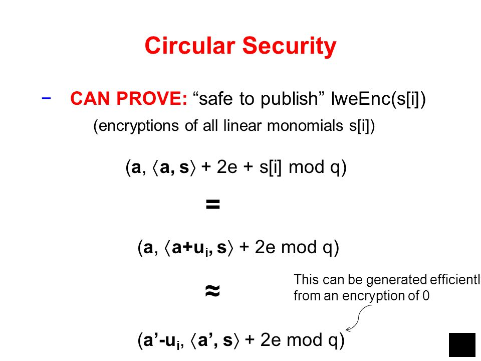 = ≈ Circular Security CAN PROVE: safe to publish lweEnc(s[i])